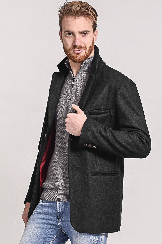 Blazer masculino de lã gola sport preto