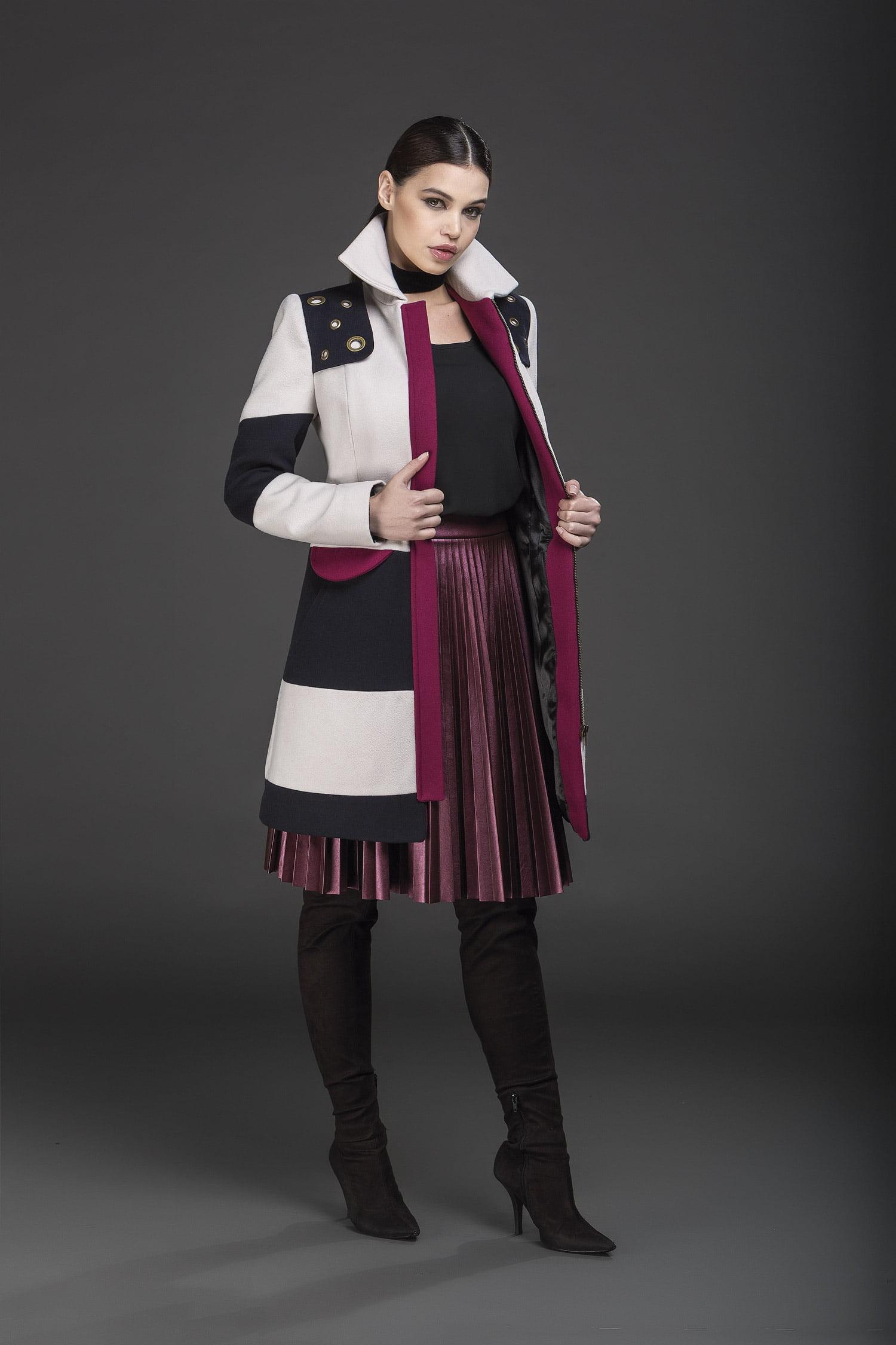 Casaco de lã bloco de cores rosa