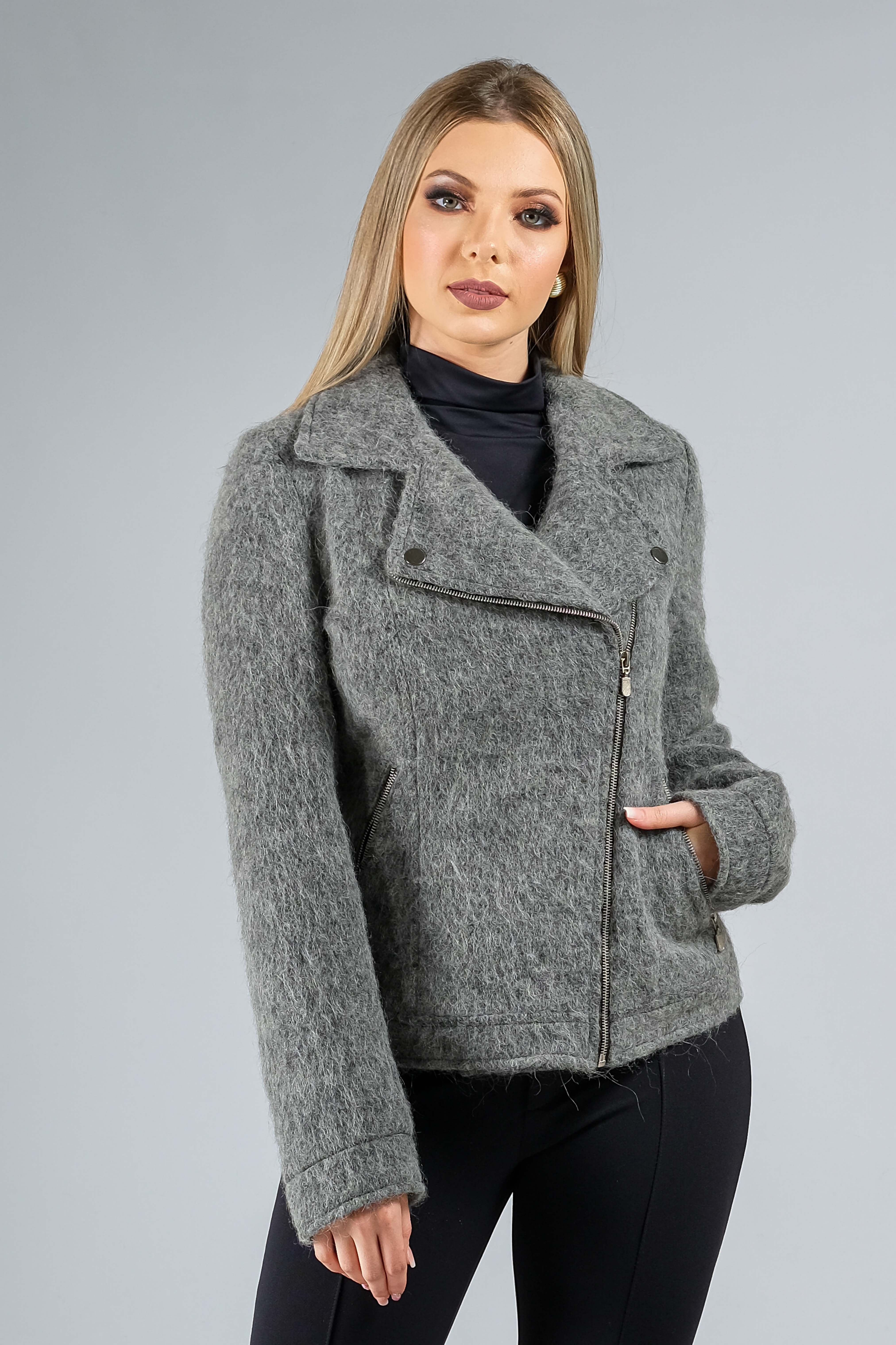 Jaqueta de lã fios longos com zíper cinza
