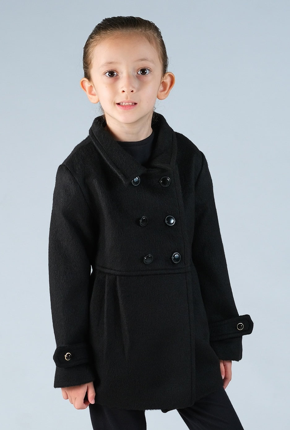 Casaco de lã infantil menina transpassado preto
