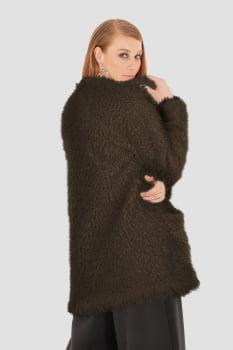 Casaco alongado felpudo marrom