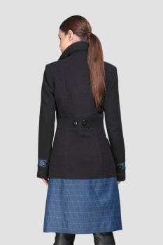 Casaco de lã longo gola sport detalhe jeans preto