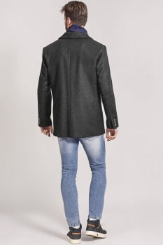 Blazer masculino de lã gola sport cinza