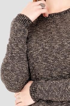 Blusa de tricot assimétrica mesclada marrom