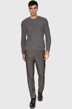Tricot suéter masculina cinza