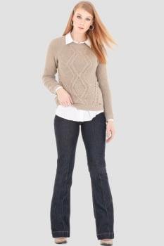Blusa de tricot trabalhada bege