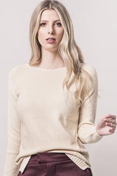 Blusa tricot ponto arroz bege