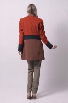 Casaco gola sport bloco de cores laranja