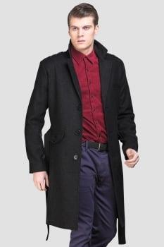 Casaco de lã masculino longo gola sport preto