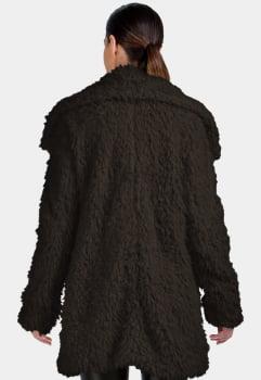 Casaco de lã alongado felpudo marrom
