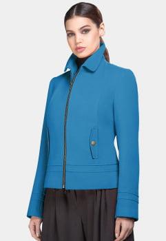Jaqueta de lã bom bolso frontal azul