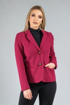 Blazer slim de lã gola sport rosa
