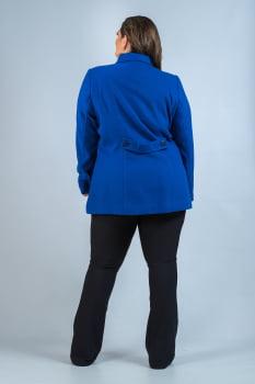 Casaco de lã acinturado detalhe de pesponto Plus Size azul