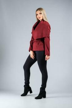 Casaco de lã com gola ampla vermelho bordo
