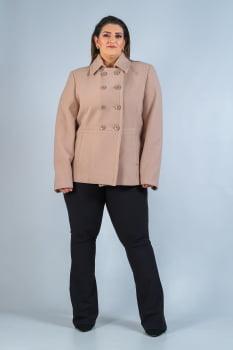 Casaco curto de lã com abotoamento duplo Plus Size bege