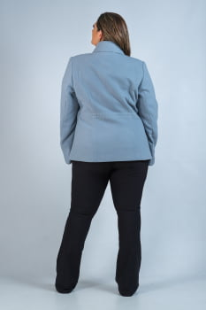 Casaco curto de lã com abotoamento duplo Plus Size azul
