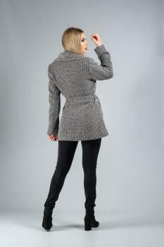 Casaco de lã curto com gola oversize cinza