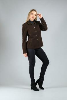 Casaco de lã detalhe de pesponto marrom