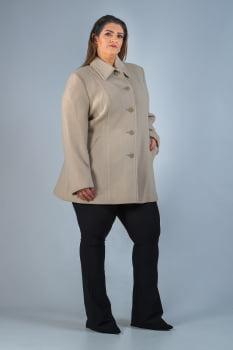 Casaco de lã detalhe de pesponto Plus Size bege