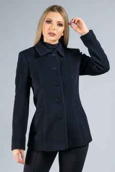Casaco de lã detalhe de pesponto preto