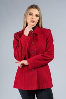 Casaco de lã detalhe de pesponto vermelho bordô
