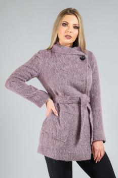Casaco de lã fios longos roxo