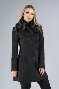 Casaco de lã longo com gola de pelo preto