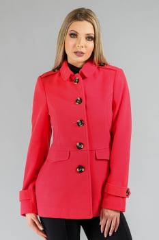 Casaco de lã gola redonda detalhe martingales rosa