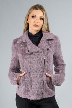 Jaqueta de lã fios longos com zíper lilás