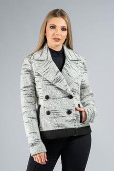 Jaqueta de lã gola esporte abotoamento duplo preto e branco