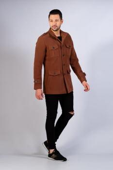 Casaco masculino bolsos cargo marrom