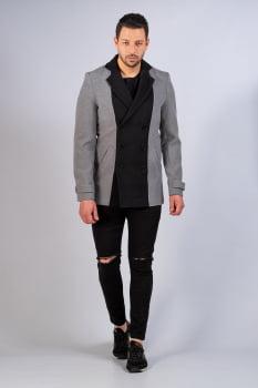 Casaco masculino de lã com gola sport cinza e preto