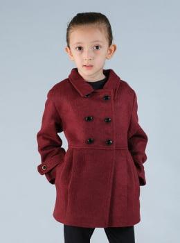 Casaco de lã infantil menina transpassado bordô