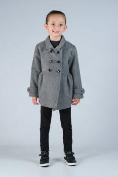 Casaco de lã infantil menina transpassado cinza