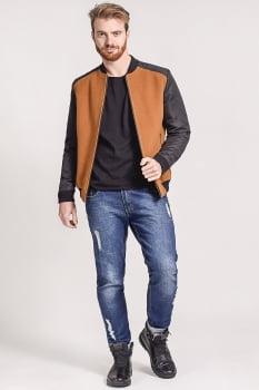 Jaqueta masculina em lã mangas em nylon marrom