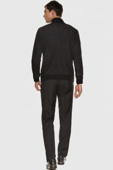 Tricot suéter masculino com zíper preto